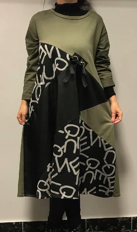 Zeleno črna obleka